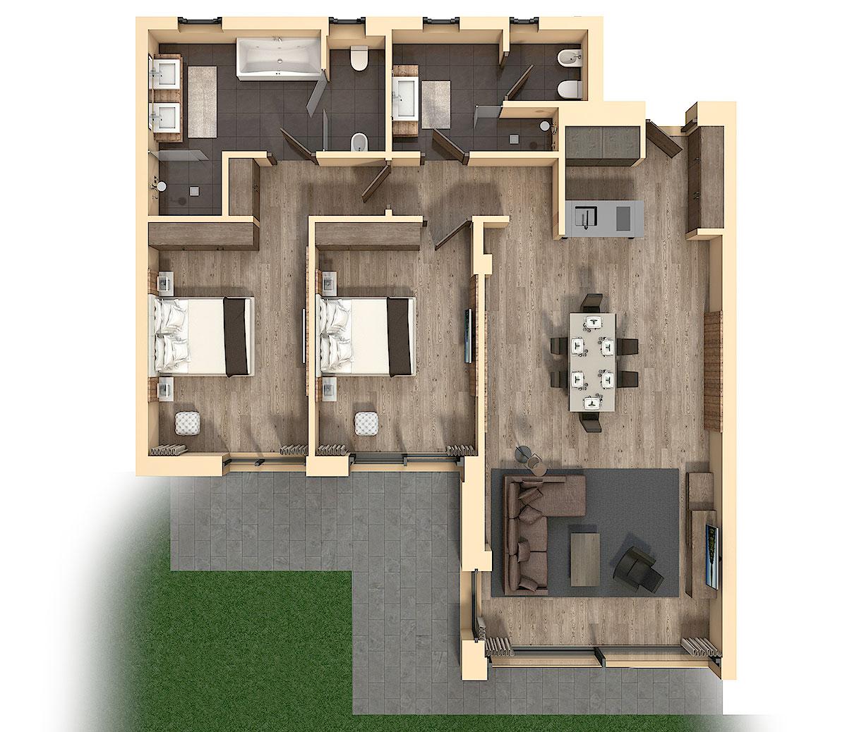 vacanze da sogno nelle dolomiti - splendidi appartamenti e massimo ... - Soggiorno Living Con Cucina A Vista 2
